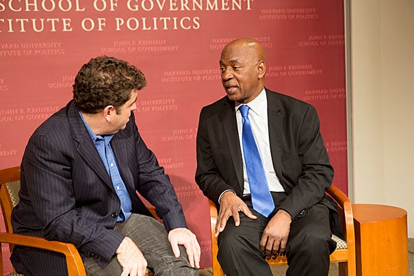 """The House I Live In"" writer-director Eugene Jarecki (left) took care in the film, and during the Q-and-A, to describe the issue of the war on drugs not as one of race, but class. Jarecki was joined by Professor Charles J. Ogletree during the post-viewing discussion."