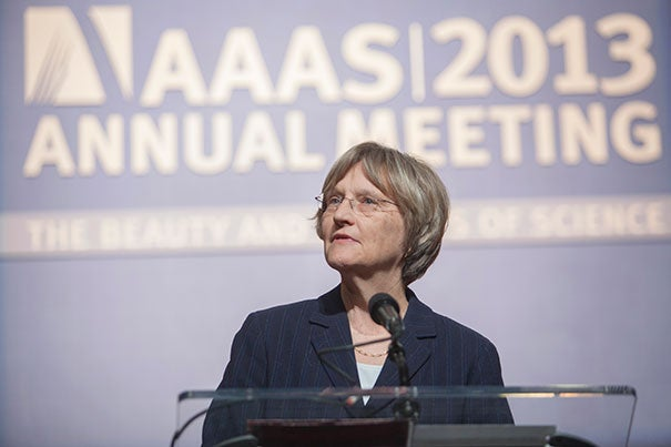 "In addressing the American Association for the Advancement of Science, Harvard President Drew Faust said, ""We must secure the federal research support critical to the future of our nation and of the world."""