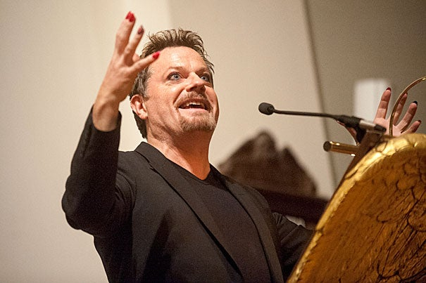 """I'm 100 percent boy, plus extra girl,"" said Eddie Izzard — sporting black heels, eyeliner, and colorful nail polish — during his acceptance speech for the Outstanding Lifetime Achievement Award in Cultural Humanism at Memorial Church."