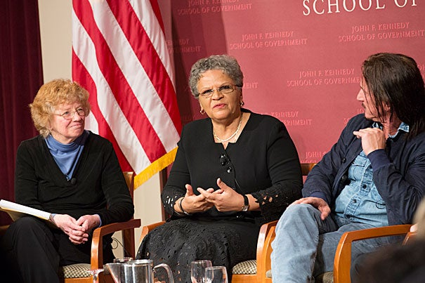 """There is an issue of impunity in the country,"" because the court system favors elites, said Michèle Pierre-Louis (center), a former Haitian prime minister. ""You can corrupt any judge with very little money."" Pierre-Louis was joined by actor Sean Penn. Moderating the panel was Harvard Kennedy School's Mary Jo Bane (left)."