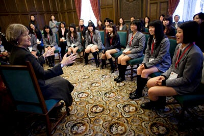 "Harvard President Drew Faust visited the Keio Girls Senior High School during a 2010 trip to Tokyo and later China. ""Universities exchange faculty and students as never before, and engage in an increasingly porous world of international problem solving and collaboration,"" Faust said at the opening of the Harvard Center Shanghai."