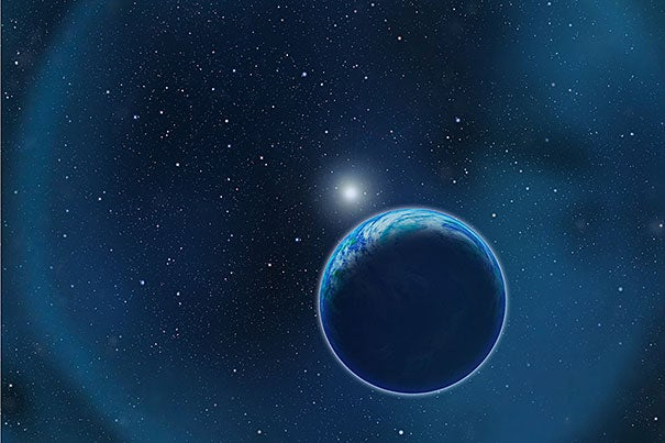 A new study finds that researchers can detect oxygen in the atmosphere of a habitable planet orbiting a white dwarf (as shown in this artist's illustration). Here the ghostly blue ring is a planetary nebula — hydrogen gas the star ejected as it evolved from a red giant to a white dwarf.