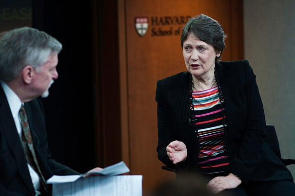 The anti-poverty goal — to halve the proportion of people living in extreme poverty, on less than $1.25 a day — has already been achieved, said Helen Clark, the administrator for the United Nations Development Programme. Much of that success is due to rapid development in China, she told Philip Hilts (left), director of the Knight Science Journalism Fellowships at MIT, adding that it has come at an environmental cost.