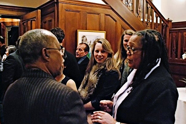 """""""Being able to engage with a brilliant and famous scholar like Professor Gates is what a Harvard College education is all about,"""" said Harvard College Dean Evelynn M. Hammonds (right) with Professor Henry Louis Gates Jr. (left)."""