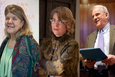 Professors Jennifer Hochschild (from left), Jill Lepore, and John Dowling will be featured in a series of book talks, which Hochschild kicks off Wednesday at 6 p.m. in the Widener Library rotunda.