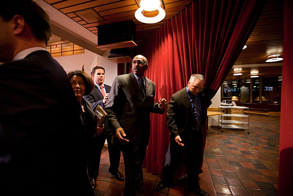 Michael Steele, then-chairman of the Republican National Committee, exits the stage following his public address at the Forum in 2010. Rose Lincoln/Harvard Staff Photographer