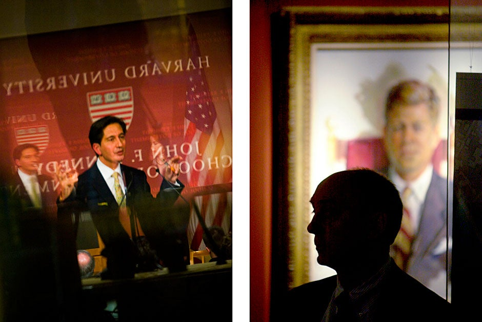 """(image on left) Said T. Jawad, then-ambassador of Afghanistan to the United States, gave a 2009 public address at the Forum called """"The New Strategy for Afghanistan."""" Stephanie Mitchell/Harvard Staff Photographer  <br />(image on right) Marc Cosentino listens to Lawrence H. Summers, then-president of Harvard, deliver the Godkin Lecture on """"Globalization and American Interests"""" in 2003. Kris Snibbe/Harvard Staff Photographer"""