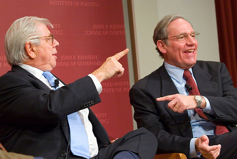 """Carl Bernstein (left), contributing editor at Vanity Fair, and Bob Woodward, assistant managing editor at The Washington Post, conversed in """"Anonymous Sources: Lessons Learned,"""" held at the Forum in 2005. Stephanie Mitchell/Harvard Staff Photographer"""