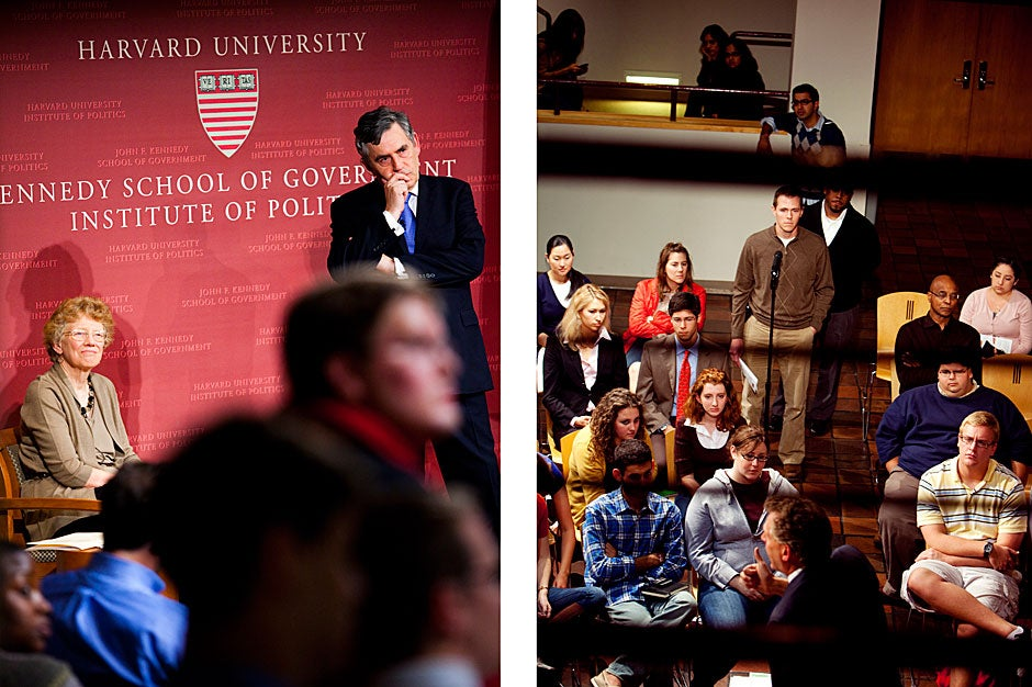 (image on left) The Malcolm Wiener Lecture in International Political Economy featured Gordon Brown, prime minister of the United Kingdom (2007-10) and Institute of Politics Heffernan Visiting Fellow. Brown (right) took questions from the audience while Harvard Kennedy School's Mary Jo Bane (left) moderated the 2010 event. Stephanie Mitchell/Harvard Staff Photographer  <br />(image on right) Institute of Politics Visiting Fellow Terry McAuliffe, who was Hillary Clinton's campaign manager and chairman of the Democratic National Committee (2001-05), spoke at the Forum in 2009. Audience members lined up to ask questions. Rose Lincoln/Harvard Staff Photographer