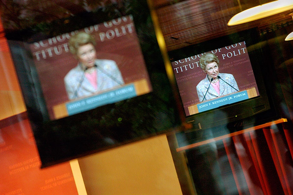 Conservative commentator and activist Phyllis Schlafly, captured on the monitors that line the room, spoke at the Forum in 2005. The Conservative Women's Caucus and the Institute of Politics co-sponsored the event. Kris Snibbe/Harvard Staff Photographer