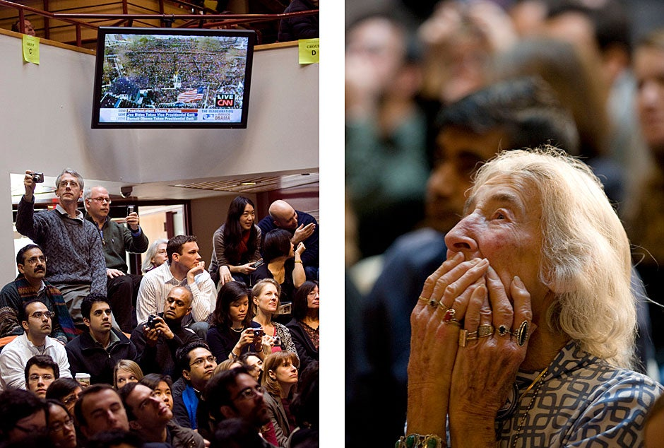 (image on left) During President Obama's 2009 inauguration, people gathered at the Forum to watch and photograph the event on the big screen. Stephanie Mitchell/Harvard Staff Photographer  <br />(image on right) Iten Fales, then age 93, of Cambridge was one of many spectators watching the inauguration. Fales, a Holocaust survivor, was overcome by emotion. Stephanie Mitchell/Harvard Staff Photographer