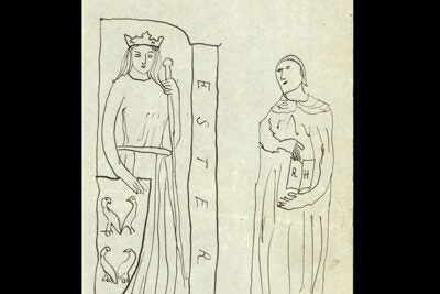 "In this drawing, ""Esther pour Reynaldo Hahn,"" Marcel Proust inscribed Hahn's initials (RH) on the female figure's crown and on the pages of the open book. He replaced the caption ""Concordia"" with the biblical ""Esther,"" the subject of a 1905 opera by Hahn, and he set her next to her adoptive father ""Mordecai,"" drawn from a statue of Saint Jerome. Below, Proust wrote that Esther is shown ""with little birds,"" while Mordecai is ""botsched."""