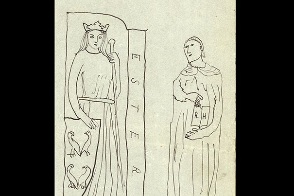 """In this drawing, """"Esther pour Reynaldo Hahn,"""" Marcel Proust inscribed Hahn's initials (RH) on the female figure's crown and on the pages of the open book. He replaced the caption """"Concordia"""" with the biblical """"Esther,"""" the subject of a 1905 opera by Hahn, and he set her next to her adoptive father """"Mordecai,"""" drawn from a statue of Saint Jerome. Below, Proust wrote that Esther is shown """"with little birds,"""" while Mordecai is """"botsched."""""""