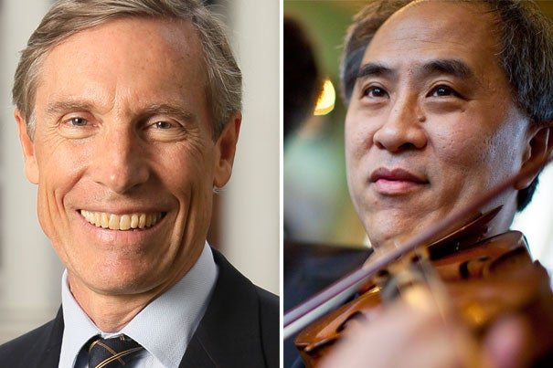 "David W. Oxtoby (left) has been elected president of Harvard's Board of Overseers for 2013-14. Lynn Chang will become vice chair of the board's executive committee. ""David Oxtoby and Lynn Chang are two distinguished educators who bring invaluable and complementary perspectives to the work of the Overseers,"" said President Drew Faust."