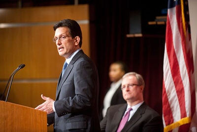 """""""Fiscal stress at the federal level demands we make smart choices,"""" said U.S. Rep. Eric Cantor, majority leader, during remarks at the Institute of Politics. Cantor said his priority was to make sure that """"going forward, every federal research dollar should be measured against the capacity to help patients."""""""