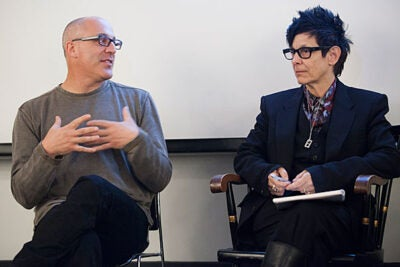 Jim Lasko (left), a Loeb Fellow and co-artistic director of Chicago's Redmoon Theater Company, and Elizabeth Streb, a prominent choreographer, on Friday discussed ways to bring more art into public spaces.