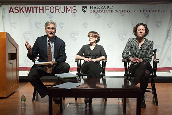 """Richard Weissbourd (left), director of the Human Development and Psychology Program at the Harvard Graduate School of Education, said an important part of the solution to bullying involves creating social norms where kids """"don't feel powerful degrading other kids — they feel powerful including other kids."""" Also speaking at the Askwith Forum were authors R.J. Palacio (center) and Emily Bazelon."""