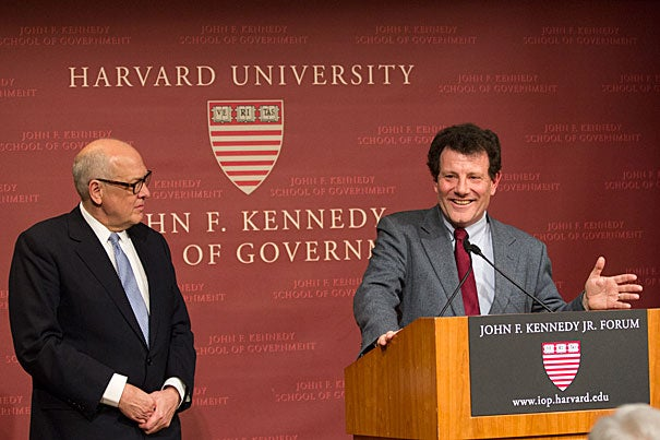 In bringing human-rights issues to light, journalists must do a better job of connecting with experts at universities, whose wisdom on public policy often goes unheard in favor of pronouncements from think tanks, said Nicholas D. Kristof '81 (right) recipient of the Goldsmith Career Award for Excellence in Journalism. The award was presented by Alex S. Jones (left), director of the Shorenstein Center.