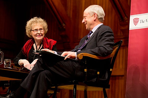 "Harvard's justice guru Michael Sandel (right) and Jean Bethke Elshtain of the University of Chicago Divinity School convened at the Vertias Forum to explore whether religion has a role in public life. In his remarks, Sandel suggested that a public discourse that disregards moral and religious convictions is ""a mistake."""