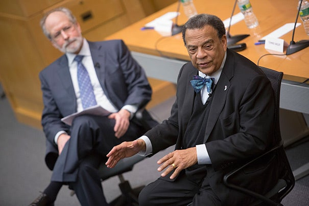 """Andrew Young (right) agreed that Martin Luther King Jr. was out of the ordinary, the single prophet and demonstrably great man in the movement. """"There was nothing that special about us,"""" he said of the rest, adding his daughter's description: """"You all were just some get-down men, who happened to be in the right place at the right time, and you did the right thing."""" Sharing in the panel discussion was Barnard College sociologist Jonathan Rieder (left)."""