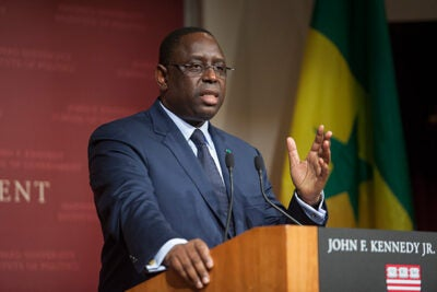 """In addressing his Harvard Kennedy School audience, Macky Sall, president of the Republic of Senegal, described Africa as being on the verge of power and prosperity. """"Africa is the continent of the future,"""" Sall said — young and rich in resources. """"Senegal aspires to be a middle-income country"""" ... an economic """"African tiger,"""" he added."""