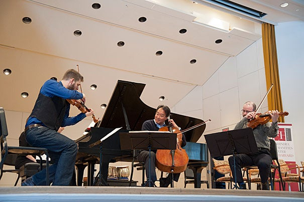 """""""What you just heard, in some way, reflects what cultural citizenship is,"""" said cellist Yo-Yo Ma (center) before participating in a discussion on the topic, which was moderated by Diana Sorensen."""