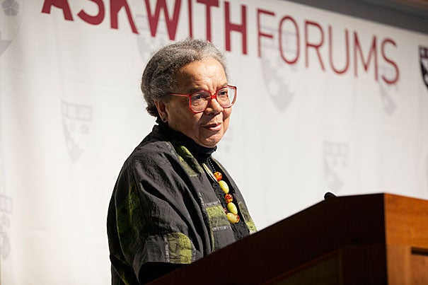"""Educational institutions """"should not become armed bastions, with more guns in schools. Teachers need to teach,"""" said Marian Wright Edelman, founder and president of the Children's Defense Fund, told her Askwith Forum audience."""