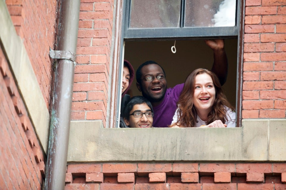 Freshmen in Weld Hall eagerly await news of their homes-to-be.