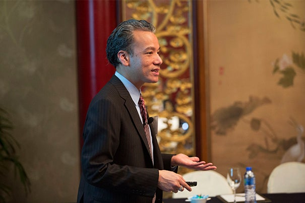 Professor Robert Lue (pictured), the HarvardX faculty director, presented the latest thinking on HarvardX and its global presence during a meeting in Hong Kong on Monday. This was the first event in a weeklong visit to Asia with President Drew Faust.