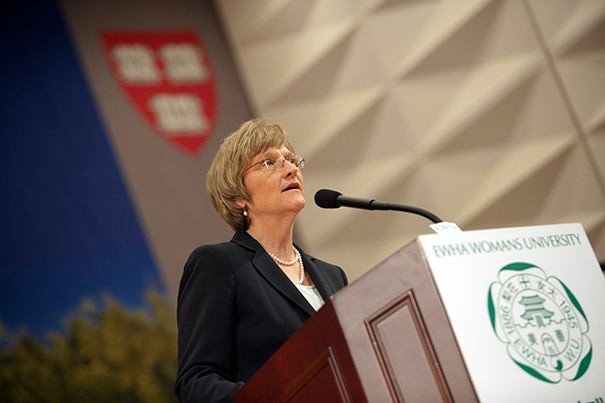 """""""How we define success in the education of women, whether in the United States or South Korea or worldwide, remains an open and pressing question,"""" Harvard President Drew Faust said during her address at Ewha Womans University in Seoul."""