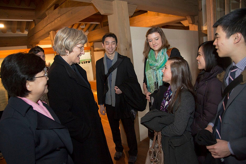 President of Ewha Womans University Sun-Uk Kim (from left) and Harvard President Drew Faust meet with Harvard College in Asia Program students Willie Yao '13, Liesl Ulrich-Verderber '15, Megan Monteleone '16, Dani Keahi '16, and Roland Yang, '14.