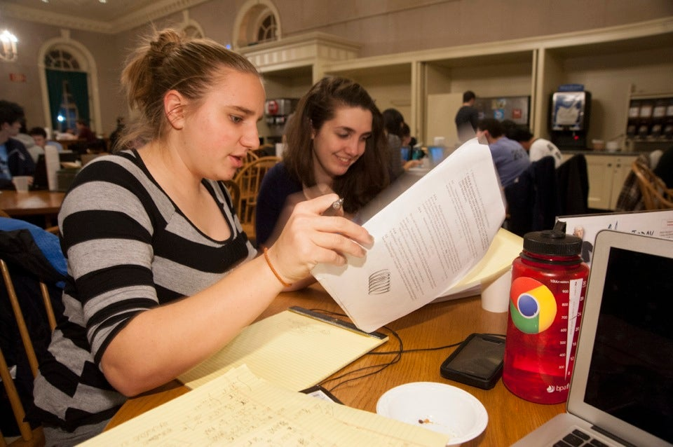 Ellen Robo '16 (left) confers with fellow student Natalie Janzow '16.