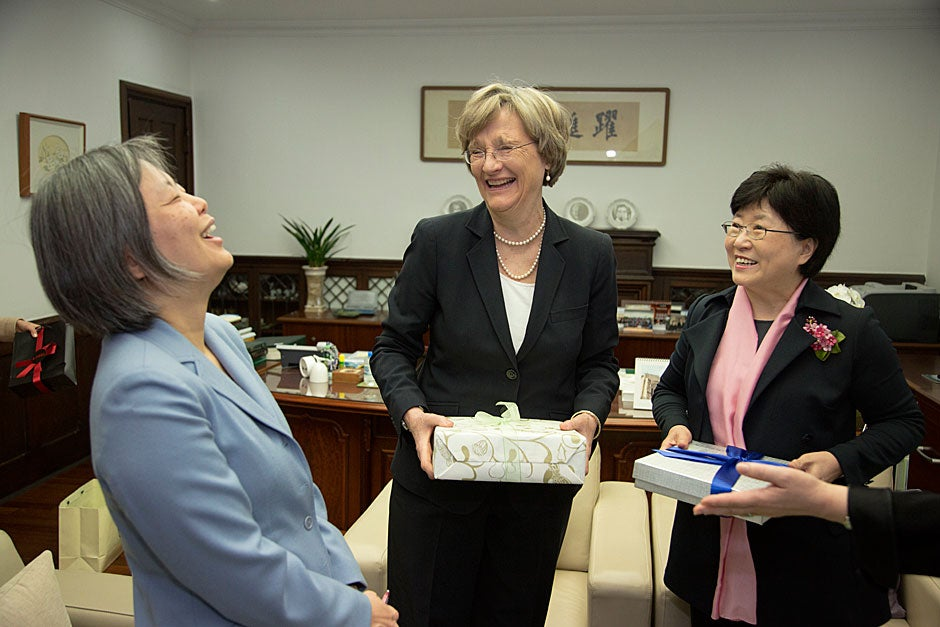 Sun Joo Kim (from left), Harvard-Yenching Professor of Korean History; Harvard President Drew Faust; and Ewha President Sun-Uk Kim share a laugh.