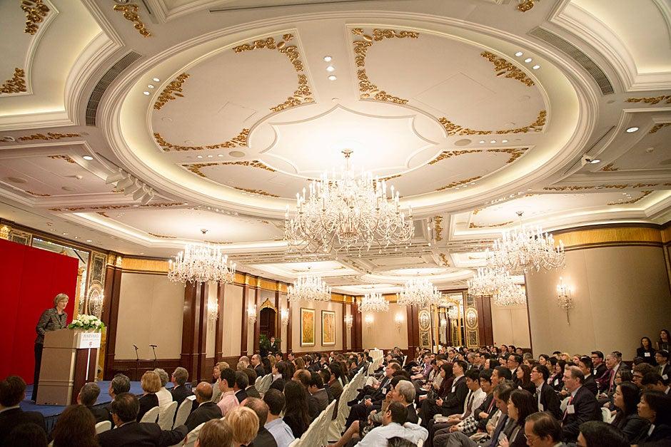 Harvard President Drew Faust speaks to several hundred alumni during the Harvard Alumni Association event in Hong Kong.
