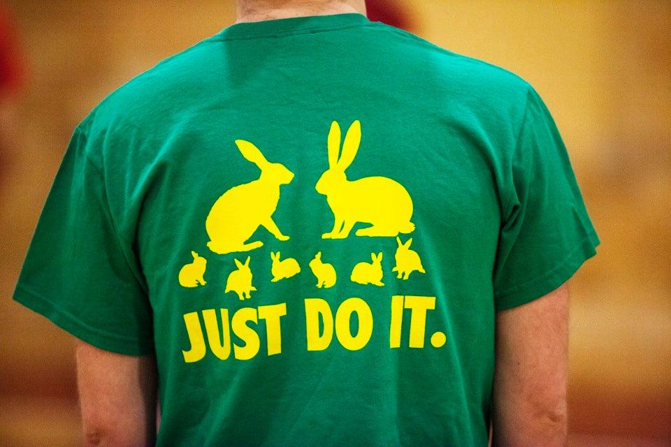 Leverett's mascot bunnies adorn this player's T-shirt.