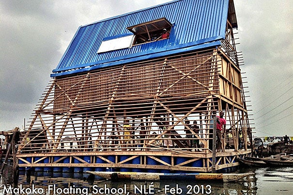 The Makoko Floating School is a three-story, 720-square-foot building afloat on a platform of recycled barrels and fitted with solar panels. The concept was the brainchild of forward-thinking Nigerian architect Kunlé Adeyemi.