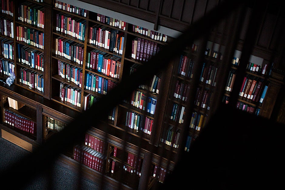 Volumes neatly line the shelves of the library nestled within Robinson Hall's History Department.