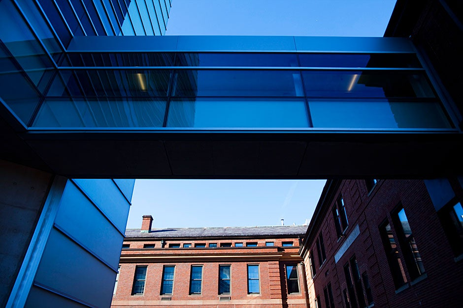 The Laboratory for Integrated Science and Engineering is connected by bridge to Cruft and Lyman laboratories.