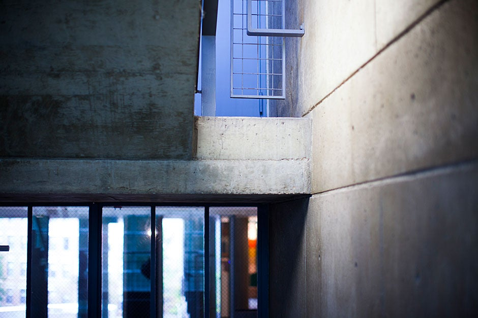 Concrete slabs comprise the walls, floors, and stairwells of the Carpenter Center. Squares and rectangles are celebrated forms in Le Corbusier's only building in North America.