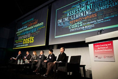 """About 200 university representatives, leaders in online learning, and members of the media convened on March 3 and 4 for """"Online Learning and the Future of Residential Education,"""" a summit hosted by the presidents of Harvard and the Massachusetts Institute of Technology."""