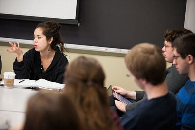 "On campus for a five-week residency, Harvard graduate Calla Videt (above) worked with Harvard geneticist Jonathan Beckwith and his students to create a play addressing the complex issues in Beckwith's class ""Social Issues in Biology."" Performances will be held April 12-14."