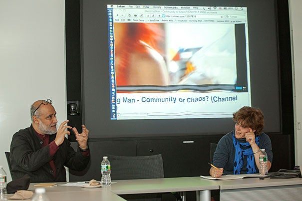 In a recent talk, installation artist Helen Marriage (right) and Rahul Mehrotra, professor of urban design and planning at the Harvard Graduate School of Design, pondered whether temporary public space can have a spiritual dimension and, if so, what is the role of the artist in creating it?