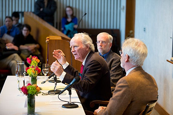 "Cardinal Jorge Bergoglio became Pope Francis, in honor of St. Francis of Assisi. ""There is a ringing clarity to it that took the world's breath away. It was worthy of the great poet, the choice of that name,"" said author and former Catholic priest James Carroll  (center). Joining Carroll in a discussion on ""The Papacy and the Catholic Church"" were Professor Francis X. Clooney (left) and radio host Christopher Lydon."