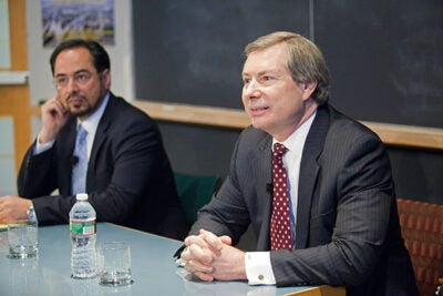 """We are under no illusions that this will be easy, but substantial gains have been made,"" said Afghan diplomat Salahuddin Rabbani (left) in a conversation with James Warlick (right), the U.S. deputy special representative for Afghanistan and Pakistan."