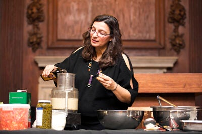 "While Americans have been bombarded with news of the Mediterranean cuisine's healthfulness, said chef Diane Kochilas, they don't always know about the diet's ""indulgence factor.""  ""It's not a monastic cuisine,"" she said. ""It's a cuisine that's meant to be shared. It's hearty, it's user-friendly, and it's convivial."" Kochilas' visit was sponsored by the Food Literacy Project at Harvard University Dining Services."