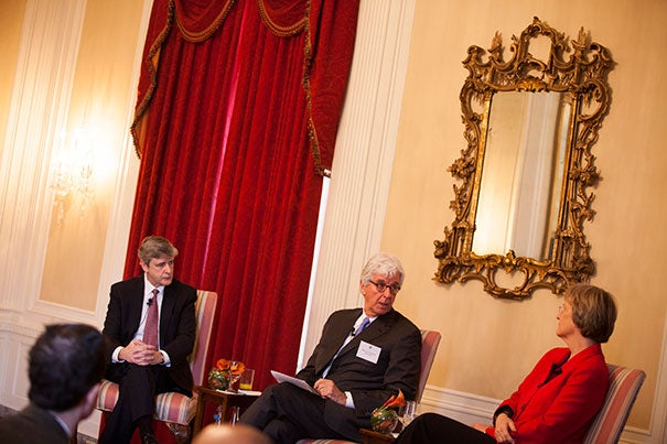 As part of the Divinity School's Leadership Day, President Drew Faust (right) and Dean David N. Hempton (left) sat down in Loeb House to discuss the role of religious studies and spiritual life in the 21st century — at Harvard and beyond. The talk was moderated by Thomas Chappell, M.T.S. '91.