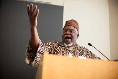 "Through the ""Divine Space and Sacred Territories"" conference, the visiting scholars from New England, New York, Georgia, Florida, and Nigeria touched on Yorùbá, its Caribbean cousin Vodou, and other practices from humankind's genetic ancestral home. ""We are all Africans,"" said keynote speaker Baba John Mason (pictured)."