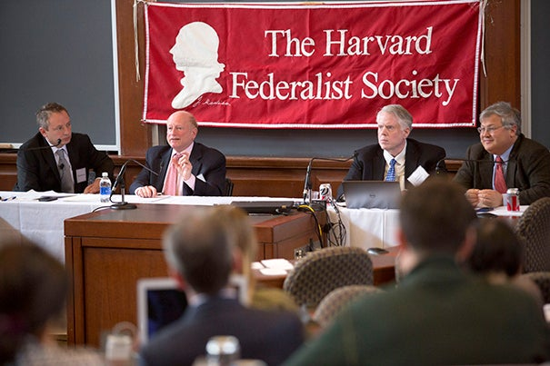 Panelists David Barron, (from left), Mark Tushnet, James Lindgren, and Jack Goldsmith discussed intellectual diversity at law schools in a Harvard Law School talk last week.