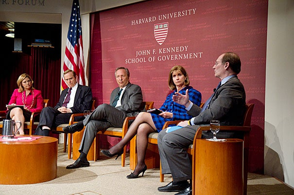"Companies have shifted their responsibility to shareholders above consumers and have spent more time appealing to Washington than to the public, said Benjamin W. Heineman (far right). The forum event, ""Is America Working? What Business and Government Can Do,"" brought together a group of experts in business and government, including Nina Easton (from left), Roger Porter, Lawrence Summers, Paula Dobriansky, and Heineman."