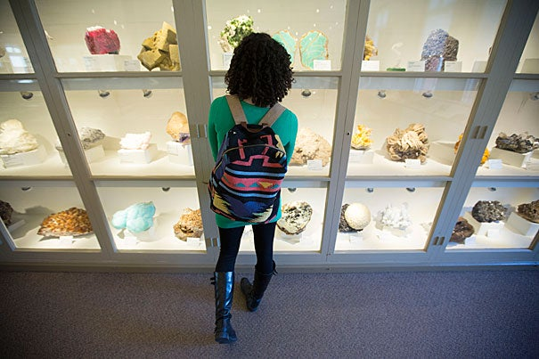 A viewer checks out the newly renovated Earth and Planetary Sciences gallery at the Harvard Museum of Natural History.
